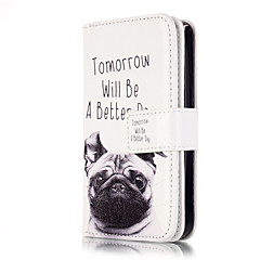 For iPhone 5 Case Card Holder / Wallet / with Stand / Flip / Pattern Case Full Body Case Dog Hard PU Leather iPhone SE/5s/5