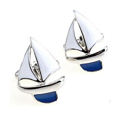 Men's Fashion Sailing Style Silver Alloy French Shirt Cufflinks (1-Pair)