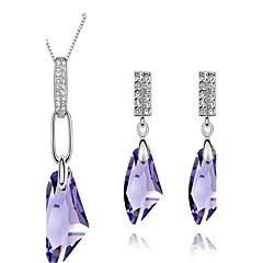 Biżuteria Ustaw Kryształ Kryształ Kamienie zodiakalne Purple Rose Green Niebieski Golden Bridal Jewelry Sets Ślub Impreza 1setNaszyjniki