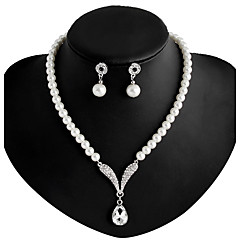 Joyas Collares / Pendientes Collar / pendientes Boda / Fiesta / Diario Legierung / Perla Artificial / Brillante / Plateado 1 Set Mujer