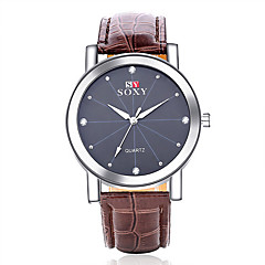 2016 SOXY Men's Watch Quartz Analog Water Resistant Diamante Alloy Leather Fashion Watch(Assorted Color) Wrist Watch Cool Watch Unique Watch