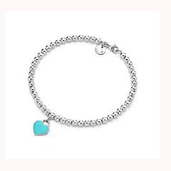 Fashion S925 Silver Bracelet Woman Heart Bracelet Bead Bracelet Letters Bracelets Gift Package