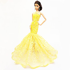 Party/Evening Dresses For Barbie Doll Yellow Dresses For Girl's Doll Toy