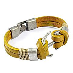 Men's Titanium Steel Anchor Multilayer Leather Bracelet