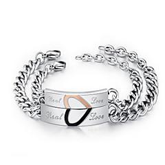 Dame Kæde & Lænkearmbånd ID Armbånd Mode Indledende smykker Sølv Smykker Kærlighed Smykker Til Daglig