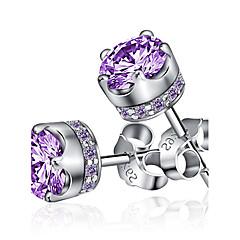 Modny Kamienie zodiakalne Srebro standardowe Circle Shape Crown Shape Silver Purple Biżuteria Na Ślub Impreza Codzienny Casual Sport1szt