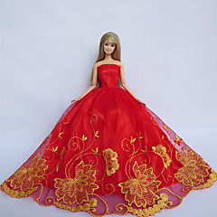 Barbie Doll Holiday Party Princess Dress in Red with Yellow Cassia Flowers