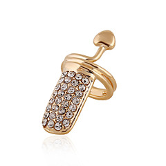 Anéis unha imitação de diamante Formato de Coração Sexy Moda Prata Dourado Jóias Diário Casual 1peça
