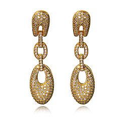 Long Drop Earrings Jewelery for Women Fashion Cubic Zircon Platinum & 18K Gold Plated Copper Earring Jewelry