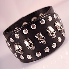 Heren Wikkelarmbanden Lederen armbanden Modieus Bohemia Style Aanbiddelijk Met de hand gemaakt Leder Geometrische vorm Doodshoofdvorm
