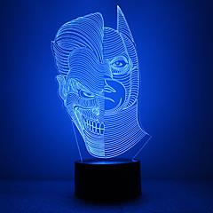 마스크 모양 배트맨 모양 더블 얼굴 모양과 놀라운 3D lllusion 주도 테이블 램프 밤 빛