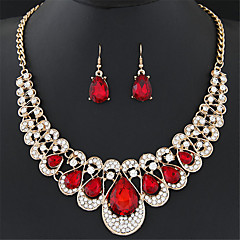 Women's European Style Fashion Luxury Metal Shiny Rhinestones Gemstone Necklace Earring Sets