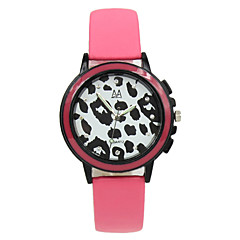 Students Black And White Leather Strap Leopard Candy Color Watch