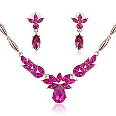 Flower Shape Rhinestone Statement Necklace & Earrings Jewelry Set