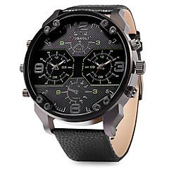 Мужской Армейские часы Японский кварц С двумя часовыми поясами Кожа Группа Cool Черный марка