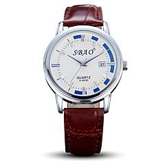 Men's Women's Couple's Fashion Watch Casual Watch Quartz PU Band Black Brown