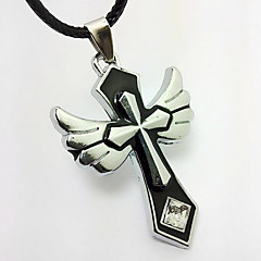Angel Big Crystal Jewelry Pendant Men Cross Necklace Couple Necklace