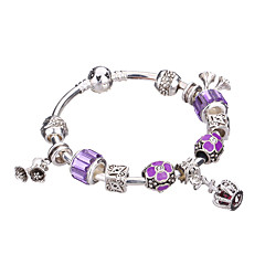 Women's Bracelet Jewelry Blue of Silver Exquisite Glass Bead Bracelet With Safety Chain Luxury Strand #YMGP1008 Christmas Gifts