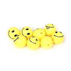 beadia 20db akril gyöngyök 18mm kerek, sárga mosolygó arc műanyag távtartó gyöngyök (2mm lyuk)