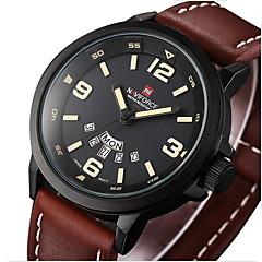 Masculino Relógio Militar Quartzo Japonês Calendário Couro Banda Casual Preta / Marrom marca