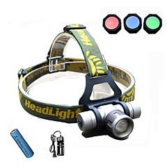 Luces para bicicleta,Linternas de Cabeza-3 Modo 300 Lumens foco ajustable / A Prueba de Agua / Recargable / Colores cambiantes 18650x1