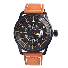 Herren Modeuhr Quartz Armbanduhren für den Alltag Leder Band Schwarz / Braun