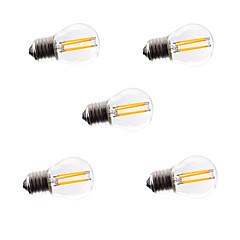 5pcs g45 4w e27 360lm dimmable 360 graus de cor branca fria quente levou filamento luz 220v