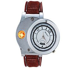 Huayue horloge ontwerp creatieve usb elektronische sigaret aansteker met datum fuction (zilver)