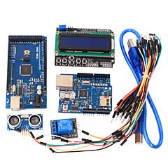 oppimisen välineet mega 2560 r3 board + ethernet W5100 + rele + leipälauta kaapeli + hc-SR04 anturi sarja arduino