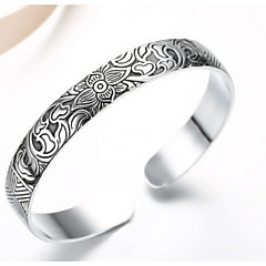Fine Silver 925 Flower Adjustable Cuff Bangle Bracelet Jewerly for Lady