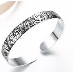 Dam Manschett Armband Mode Justerbara Sterlingsilver Blomma Form Silver Smycken För Party Dagligen 1st