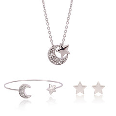Silver Sweet Moon Star Cuff Bangle & Stud Earrings & Pendant Necklace Jewelry Set