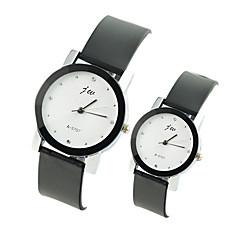 Couple's Fashion Watch Casual Watch Quartz PU Band Black