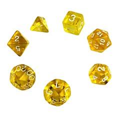 gyönyörű polyhedral akril dobókocka (7 db)
