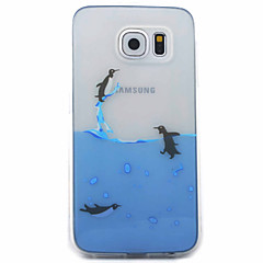 Penguins Swimming Pattern Material TPU Phone Case for Samsung Galaxy S5 S6 S7 S6 Edge S7 Edge