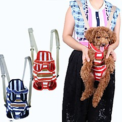 고양이 강아지 캐리어&여행용 배낭 전면 배낭 애완동물 캐리어 휴대용 통기성 스트라이프 레드 블루