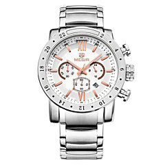 Herren Armbanduhr Japanischer Quartz Kalender / Chronograph / Wasserdicht Edelstahl Band Schwarz / Weiß Marke- MEGIR