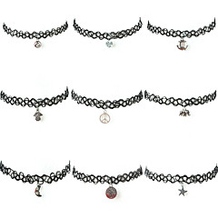 Damskie Naszyjniki choker Tatuaż Choker Nylon Stop Tatuaż Modny Black Biżuteria Na Halloween Codzienny Casual 1szt