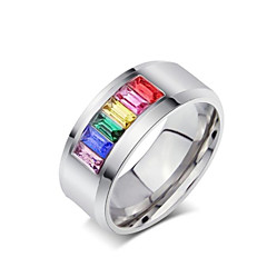 Rainbow Ring Titanium Steel Ring Personalized Diamond Ring 1pc Neutral Five Colors Fashion Jewelry Band Rings  Christmas Gifts