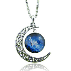 Women's Pendant Necklaces Moon Gemstone Glass Alloy Unique Design Fashion Galaxy European Red/Blue Red/White White/Blue Blue Purple/Blue