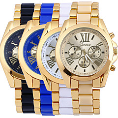 Men's Gold Alloy Band White Case Analog Quartz Fashion Dress Casual Watch
