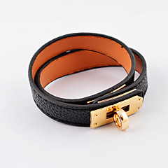 Fashion Gold Plaetd Stainless Steel Winding Leather Bracelets