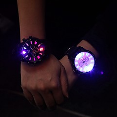 Men's Women's Unisex Fashion Watch Wrist watch LED Luminous Quartz PU Band Casual Black