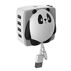 4 USB-porter Fast Charge / Charger Kit / multi Ports EU Plug / US Plug Portable lader Bare Laderfor iPad / for Mobiltelefon / For andre