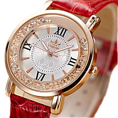 Women's Unisex Fashion Watch / Imitation Diamond Quartz PU Band Vintage Black White Red Pink Strap Watch