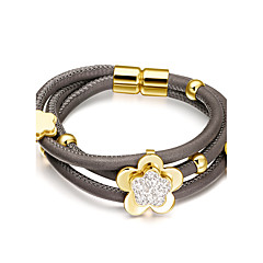 Women's Triple Layer Full Stone Flowers Cowskin Leather Bracelets