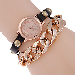 Women's Punk Golden Dial Faux Leather Chain Analog Quartz Bracelet Wrist Watch