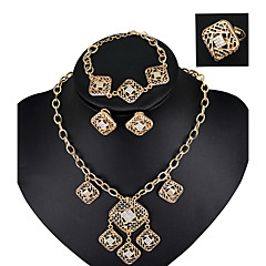 Fashionable Vintage Wedding Jewelry Sets Crystal Alloy Necklace Earrings Ring Chain Bracelet For Women All Seasons