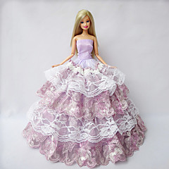 Party & Evening Dresses For Barbie Doll Light Purple Lace / Patchwork Dresses
