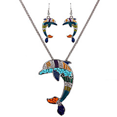 May Polly Europe and the United States Marine personality Dolphin Pendant Necklace Earrings Set